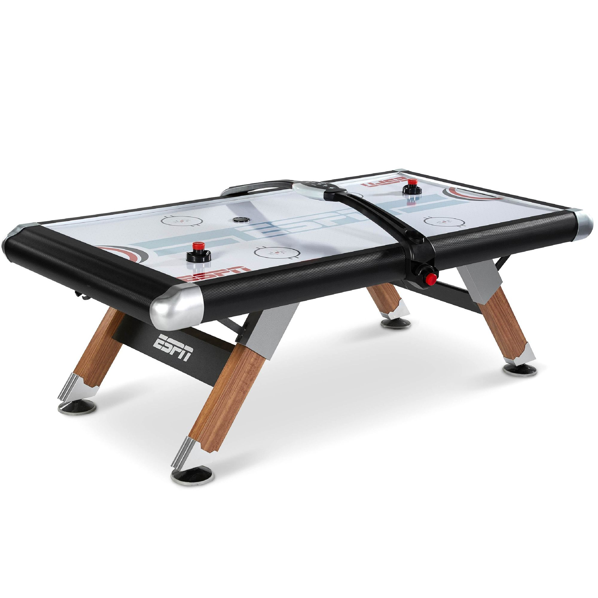 ESPN Belham Collection 8 Ft. Air Powered Hockey Table with Overhead Electronic Scorer and Table Cover, Black