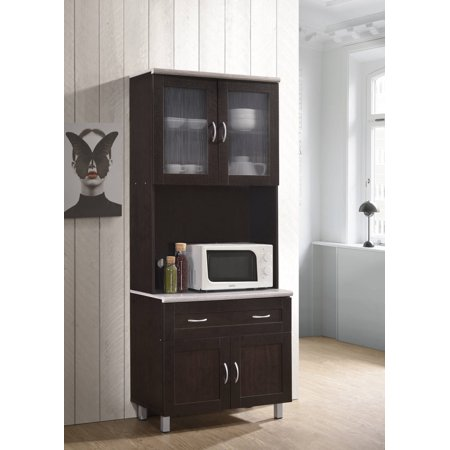 Hodedah Tall Kitchen Cabinet, Chocolate-Grey