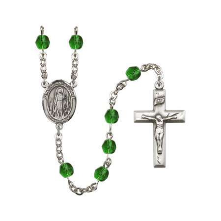 St. Juliana of Cumae Silver-Plated Rosary 6mm May Green Fire Polished Beads Crucifix Size 1 3/8 x 3/4 medal charm