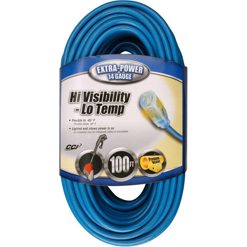 Coleman Cable 14/3 SJTW Low-Temp Outdoor Extension Cord with Lighted End, 100-Foot