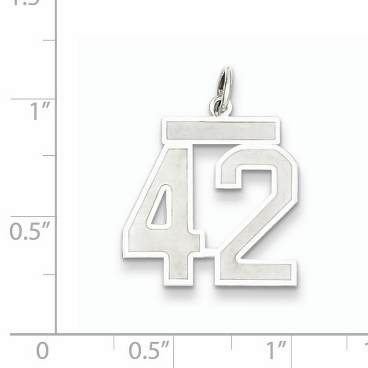 Sterling Silver Rhodium-plated Medium Satin Number 42 Charm QPM42 (22mm x 18mm) - image 1 of 2