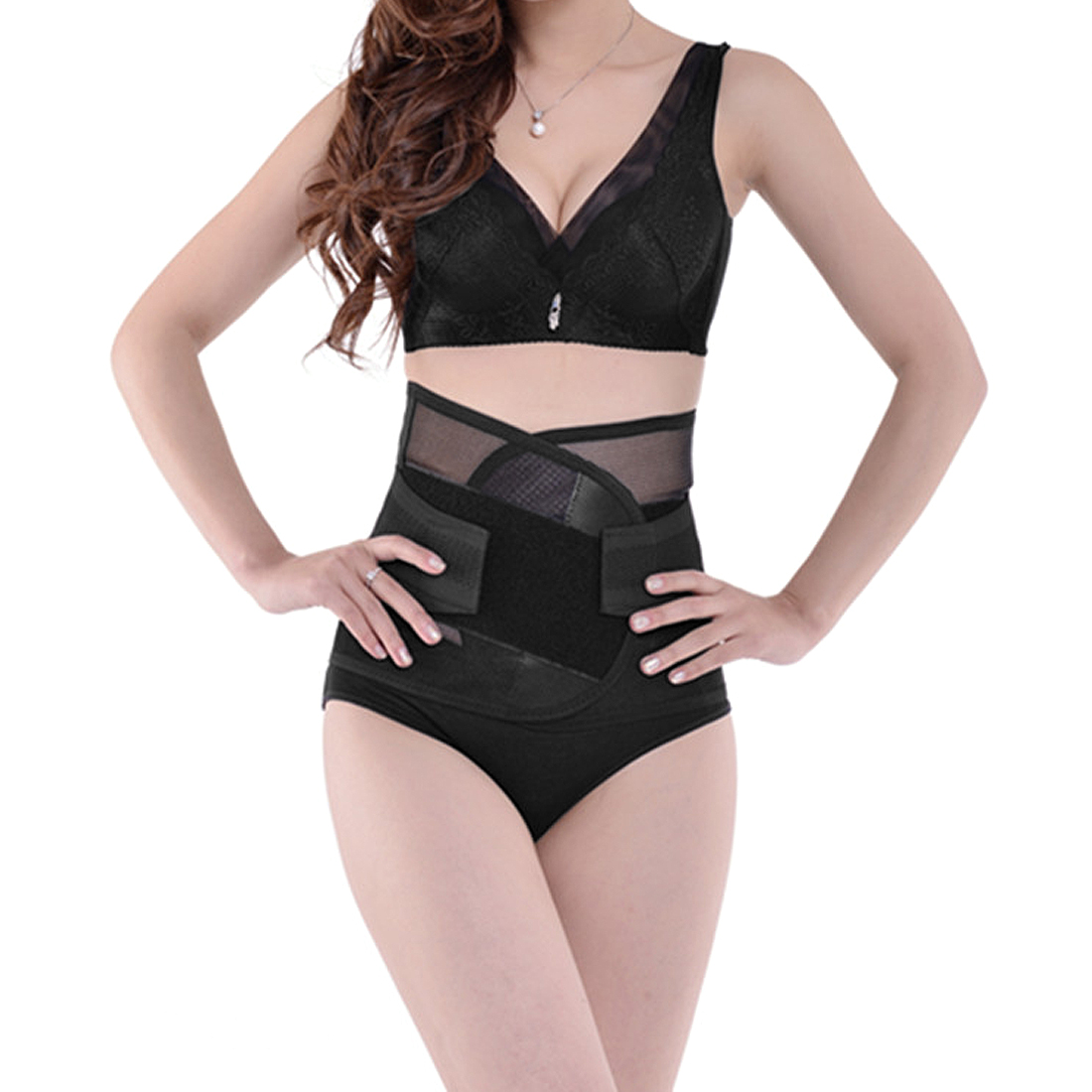 Black M Size Breathable Postpartum Abdominal Trimmer Belt Wrapping Shapewear