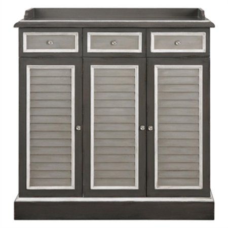 46 Warm And Light Gray Louvered Door Buffet Storage Cabinet Chest