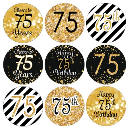 75th Birthday Party Favor Stickers | 216 Labels | Black and Gold Decoration Supplies (75th Birthday Party Supplies)