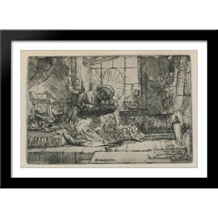 Rembrandt Cat Charm - The Holy Family with a cat 40x28 Large Black Wood Framed Print Art by Rembrandt