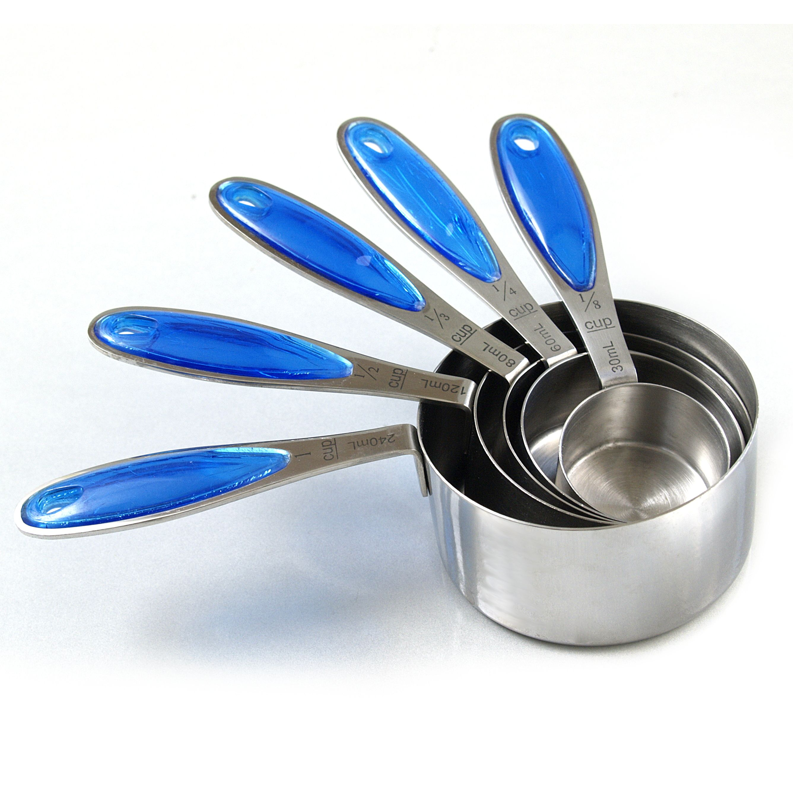 RSVP Endurance Splash 18/10 Stainless Steel Measuring Cups with Blue Grip