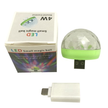 Mini Disco Light Rotating USB & Port Magic Ball Light RBG LED Lamp Portable Home Party Stage Light Random Color - image 3 de 7