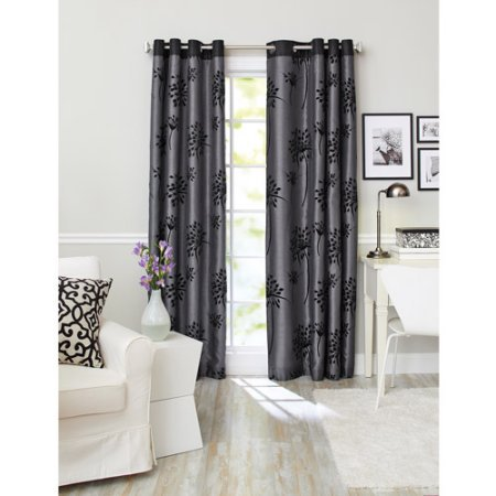 Better Homes & Gardens Faux Silk Curtains with Flocking and Crystal Detail, Set of 2