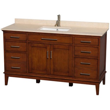 Vanity Light No Stud : Wyndham Collection Hatton 60 inch Single Bathroom Vanity in Light Chestnut, White Carrera Marble ...