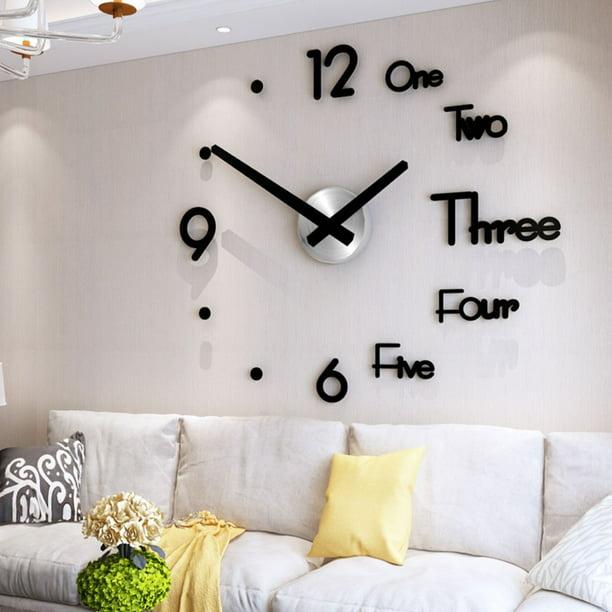 3D Large Display DIY Quartz Silent Wall Clock Sticker Home Office Room Decor
