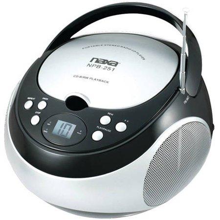 Naxa Portable CD Player with AM FM Radio, Black, NPB251 by