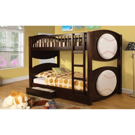 Baseball Bunk Beds (Furniture of America Baseball Twin over Twin Bunk Bed with Storage)