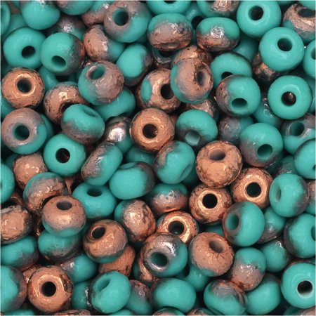 Etched Round Beads (Czech Glass, Bohemian Aged 6/0 Round Seed Beads, 10 Grams, Etched Green Turquoise and)