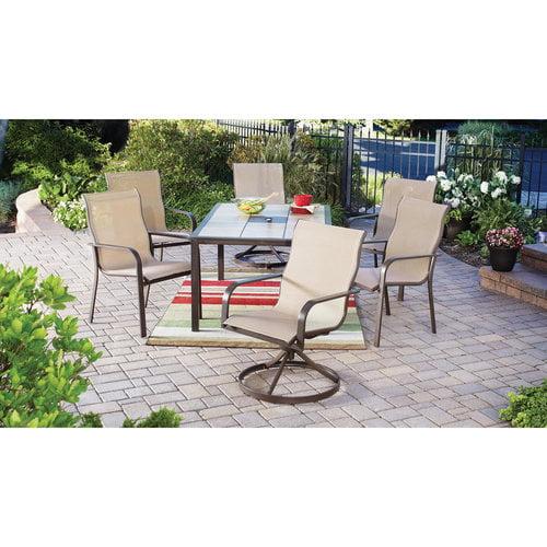 Mainstays Sling 7 Piece Tile Top Outdoor Dining Set Beige
