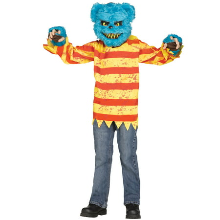 Furry Creepy Killer Bear Boys Scary Halloween Costume With Mask