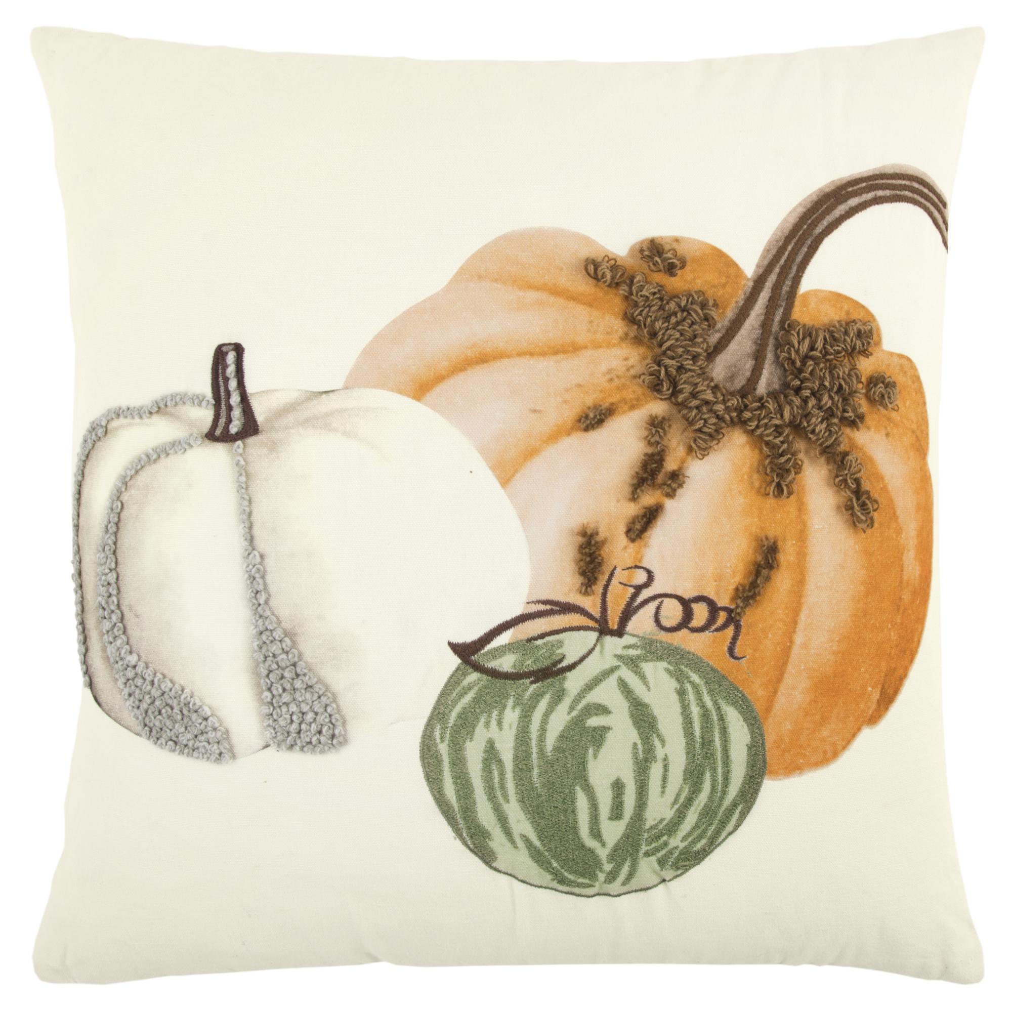 "Rizzy Home Pumpkins Cotton Decorative Throw Pillow, 20"" x 20"""