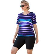 Swim 365 Women's Plus Size Colorblock Swim Tee