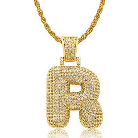 Iced Out Bubble Letters Pendant Necklace Gold-Plated Cubic Zirconia Hip Hip Bling Jewelry 60cm Chain (R) ()
