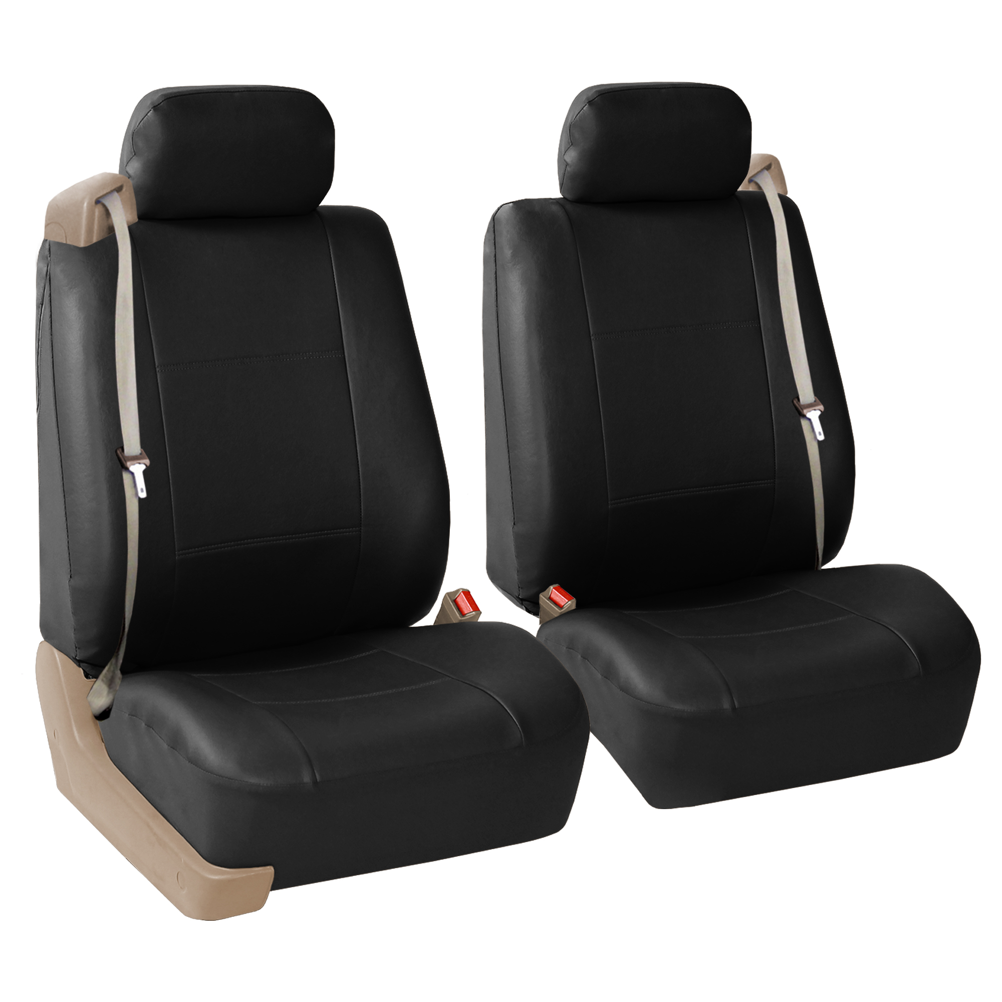 FH Group Integrated Seatbelt Seat Covers for Sedan, SUV, Van, Truck, Two Front Buckets, Black