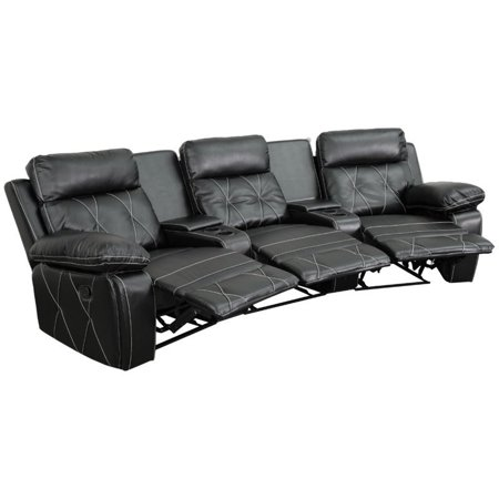 Flash Furniture Reel Comfort Series 3-Seat Reclining Leather Theater Seating Unit with Curved Cup Holders