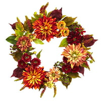 Nearly Natural 22 in. Dahlia & Mum Wreath