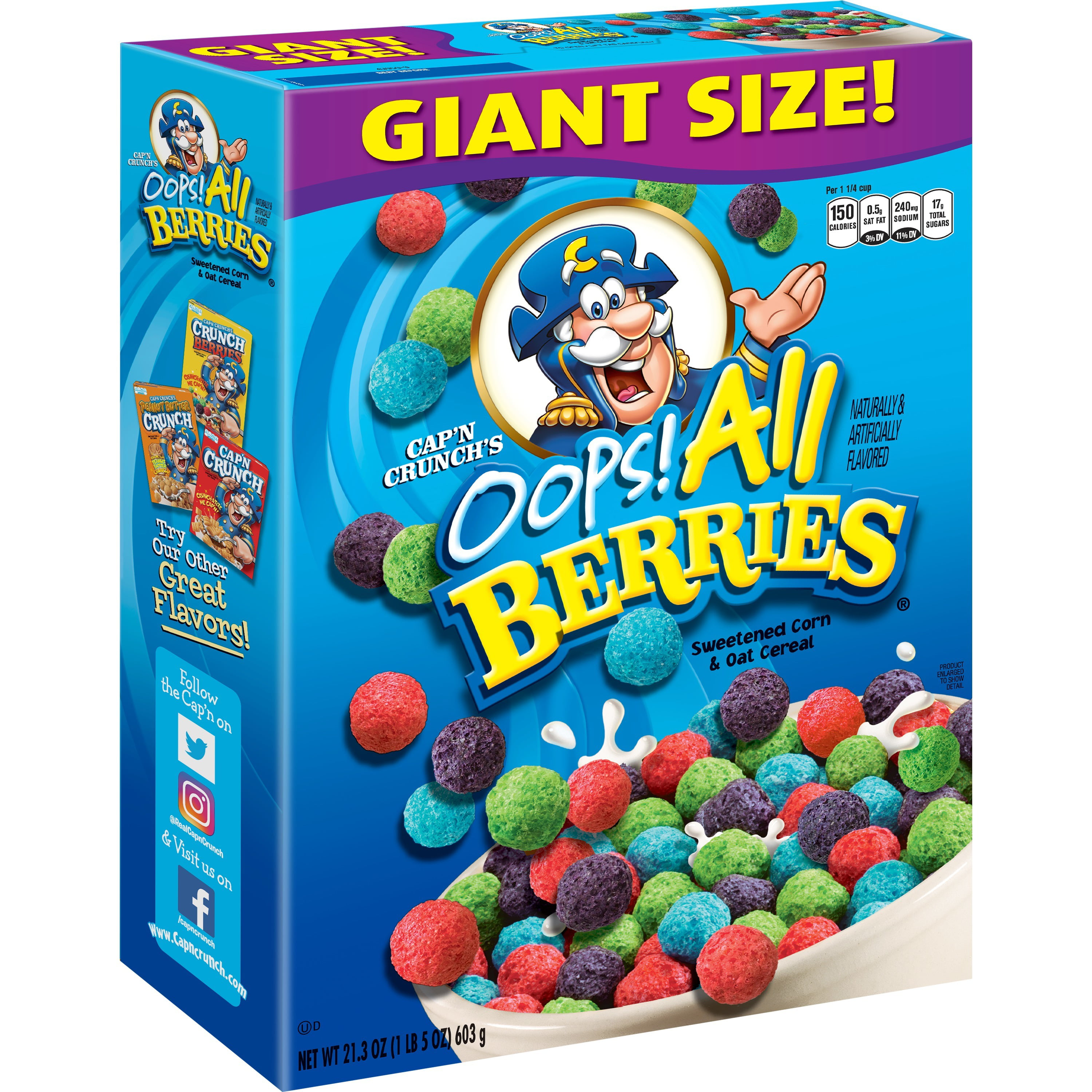 Cap N Crunch Breakfast Cereal Oops All Berries 21 3 Oz Box Walmart Com Walmart Com Cap'n crunch is a corn and oat breakfast cereal manufactured by quaker oats company, a subsidiary of pepsico since 2001. cap n crunch breakfast cereal oops all berries 21 3 oz box walmart com
