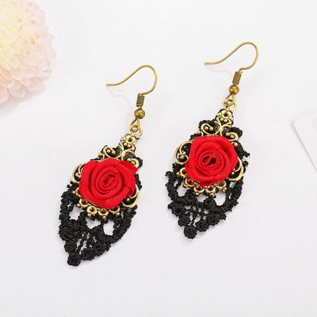 Lolita Red Flower Rose Black Drop Lace Dangle Gothic Alloy Earrings Painted Lace Earrings