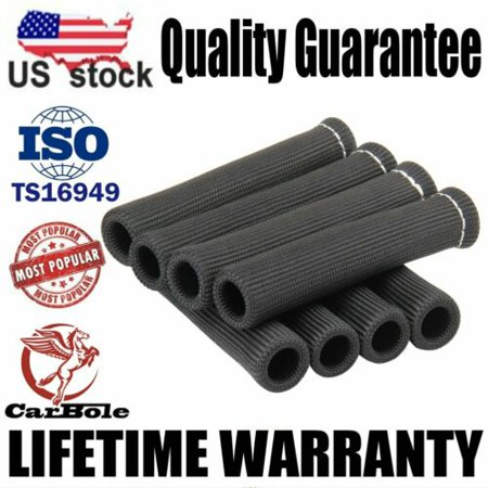 8x 6 inch Black SPARK PLUG WIRE BOOTS HEAT SHIELD PROTECTOR SLEEVE 2500
