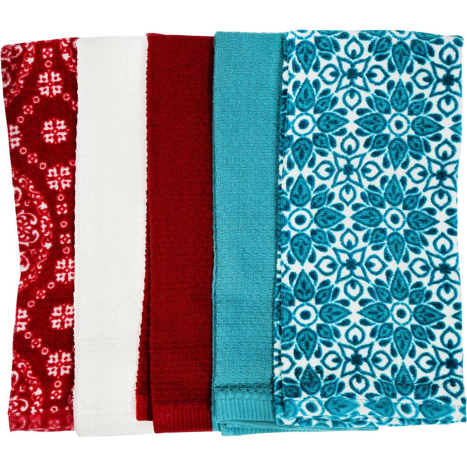 MAINSTAYS COTTON KITCHEN TOWEL 5 PACK