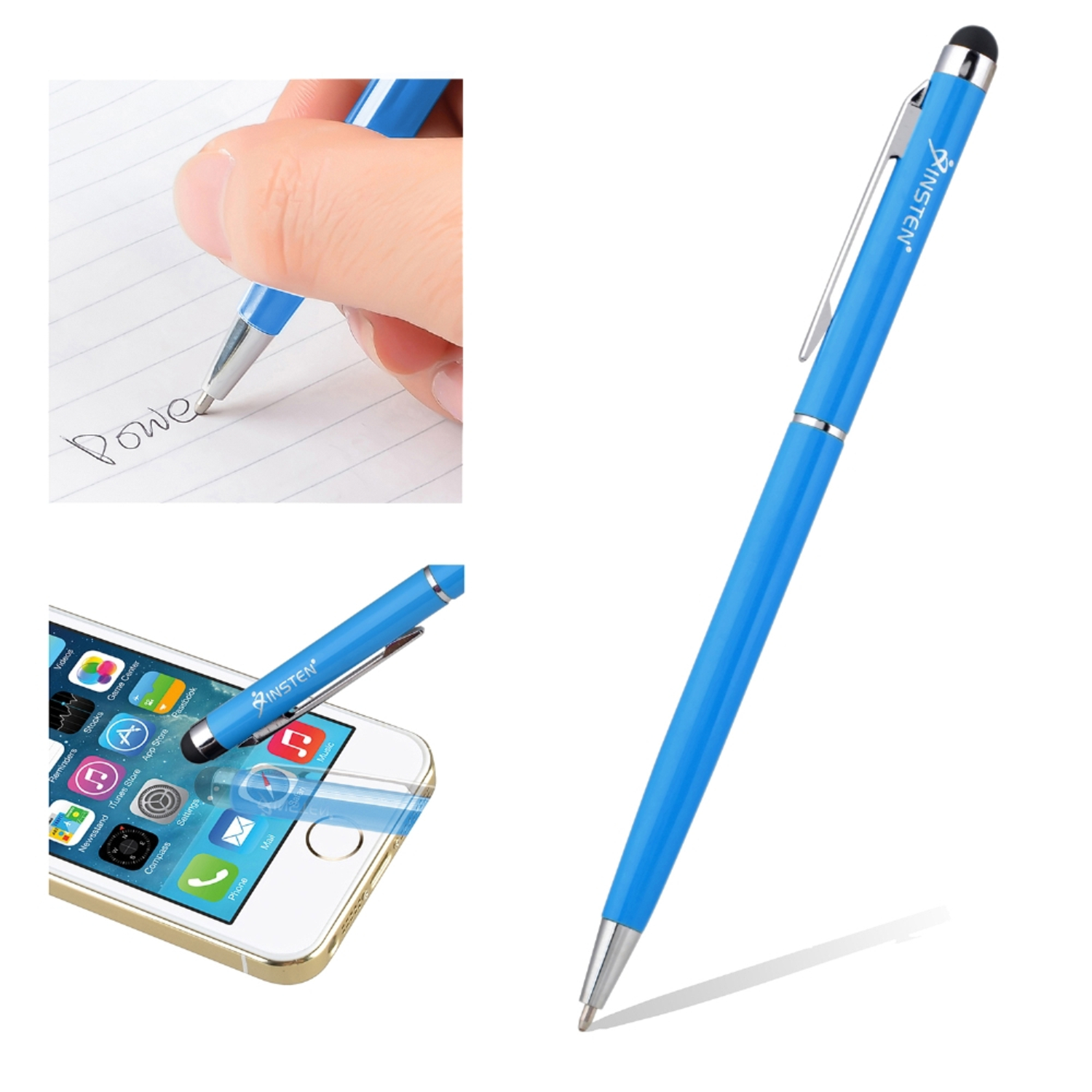 Insten Light Blue 2in1 Capacitive Touch Screen Stylus with Ball Point Pen For Mobile Phone Tablet Cell Phone iPhone