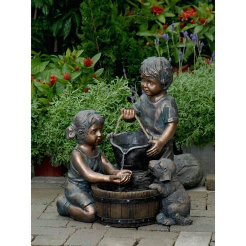 21 9 Quot Young Boy And Girl With Puppy Dog Outdoor Patio