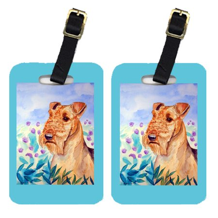 Pair of 2 Airedale Terrier in Flowers Luggage Tags
