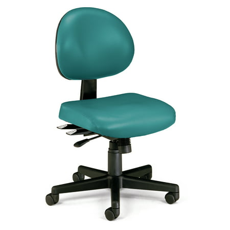 OFM 24 Hour Mid Back Ergonomic Armless Task Chair, Anti-Microbial/Anti-Bacterial Vinyl, in Teal (241-VAM-602) Ofm Ergonomic Task Chair