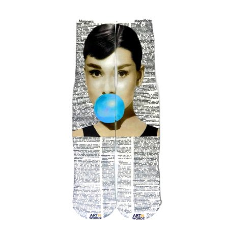 Art N Wordz Apparel Audrey Hepburn Bubble Magnetic-Magnificent Dictionary Page Print Pop Art Unisex Socks ()