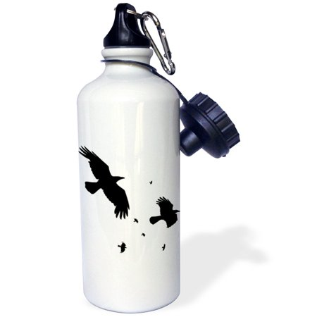 3dRose A Murder of Crows- animal, bird, birds, crow, halloween, myth, mythological, mythology, silhouette, Sports Water Bottle, 21oz - Halloween Crow Silhouette