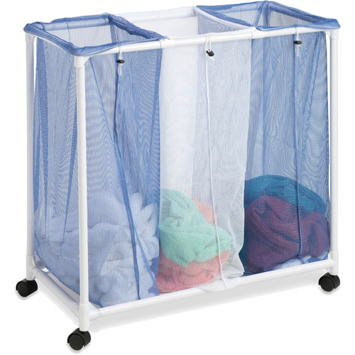 Honey Can Do Rolling Laundry Sorter with 3 Nylon Mesh Bags, White/Blue