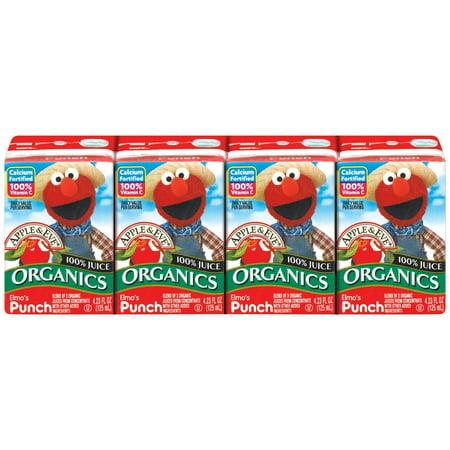 Apple & Eve Sesame Street Elmo's Organic 100% Punch Juice, 4.23 Fl. Oz., 4 (Elmo Beverage)