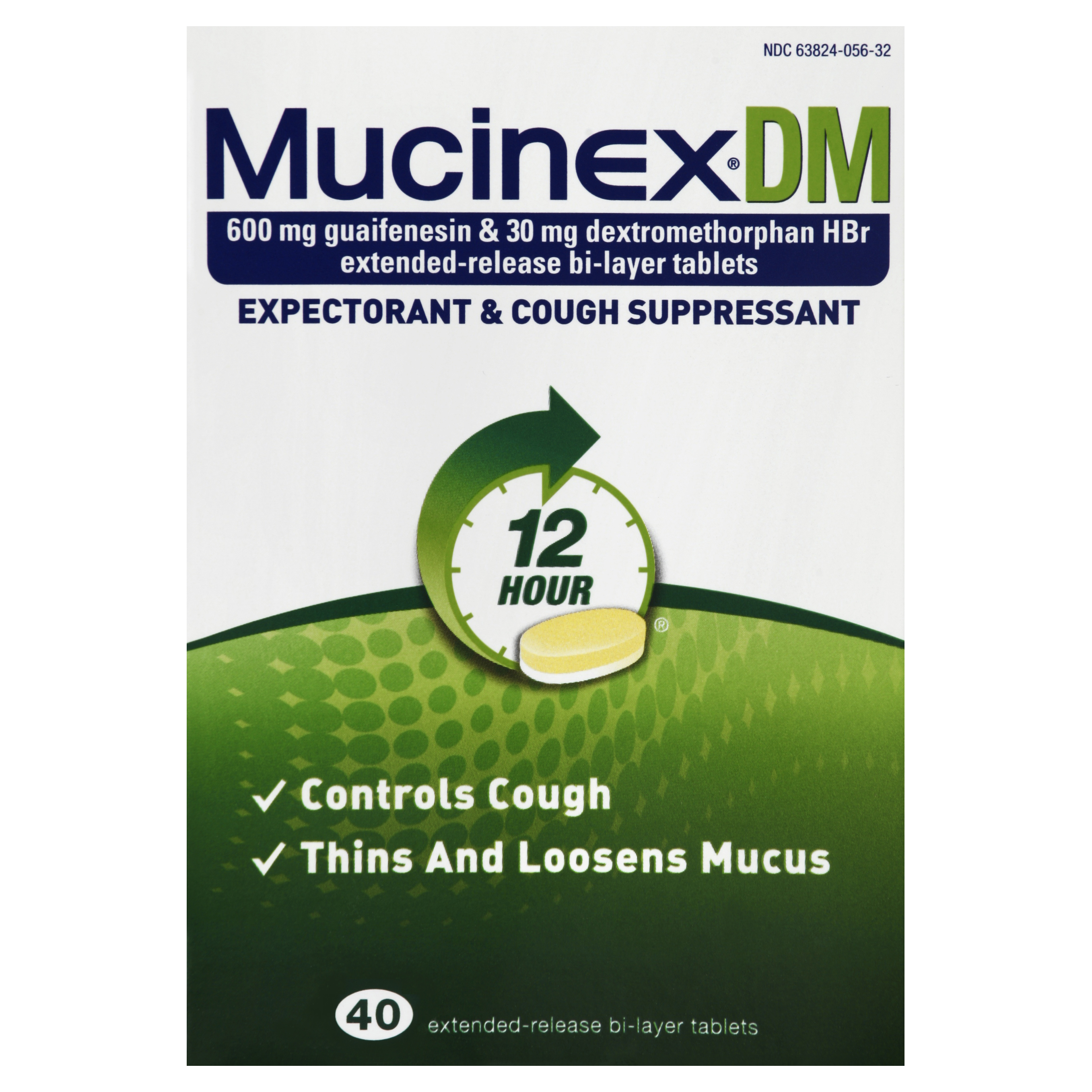 Mucinex DM 12-Hour Expectorant and Cough Suppressant Tablets, 40 Count