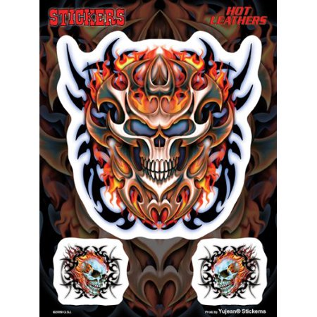 Officially Licensed - Flaming Tribal Skull - Set of 3 Stickers / Decals