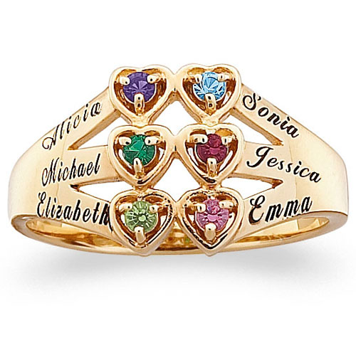 Family Jewelry Personalized Mother's 10kt Gold Family Heart Ring