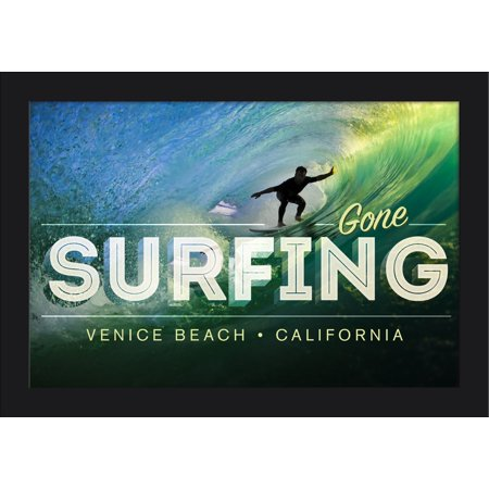 Venice Beach, California - Surfer in Wave - Gone Surfing - Lantern Press Photography (18x12 Giclee Art Print, Gallery Framed, Black Wood)