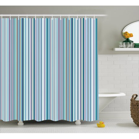 Striped Shower Curtain, Blue Purple Teal Aqua Lavender Colored ...