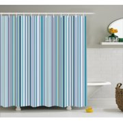 Striped Shower Curtain Blue Purple Teal Aqua Lavender Colored Vertical Stripes Geometric Abstract Vintage