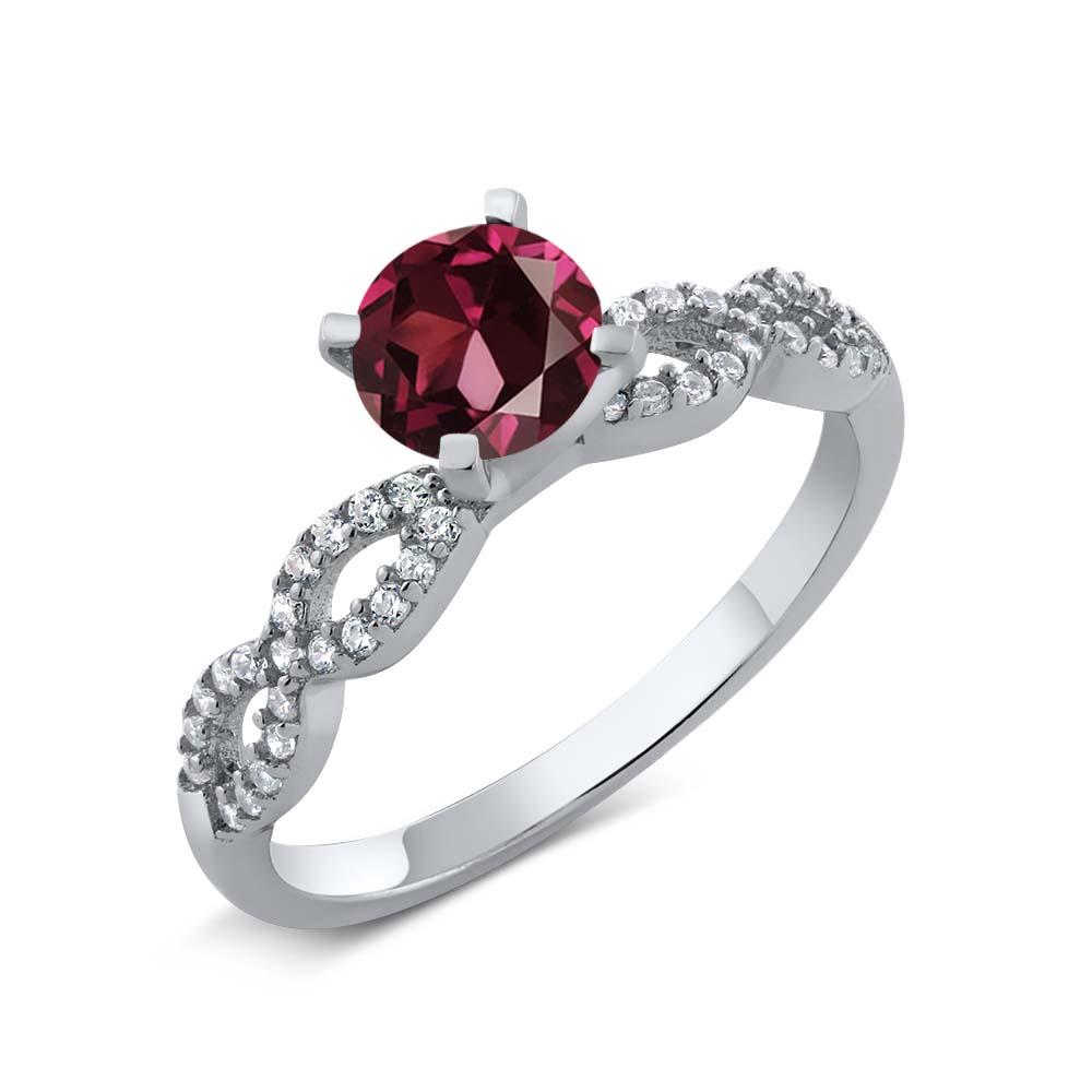 1.50 Ct Round Red Rhodolite Garnet 925 Sterling Silver Engagement Ring