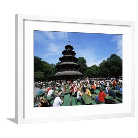 Beer Gardens Germany (People Sitting at the Chinese Tower Beer Garden in the Englischer Garten, Munich, Bavaria, Germany Framed Print Wall Art By Yadid Levy)