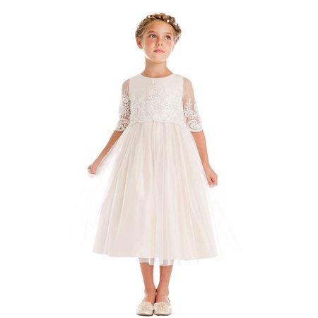 08 Champagne - Girls Champagne Sequin Cord Detail Junior Bridesmaid Dress