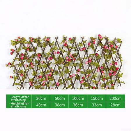 Expanding Home Trellis Privacy Screen Artificial Flower Leaves Garden Screening