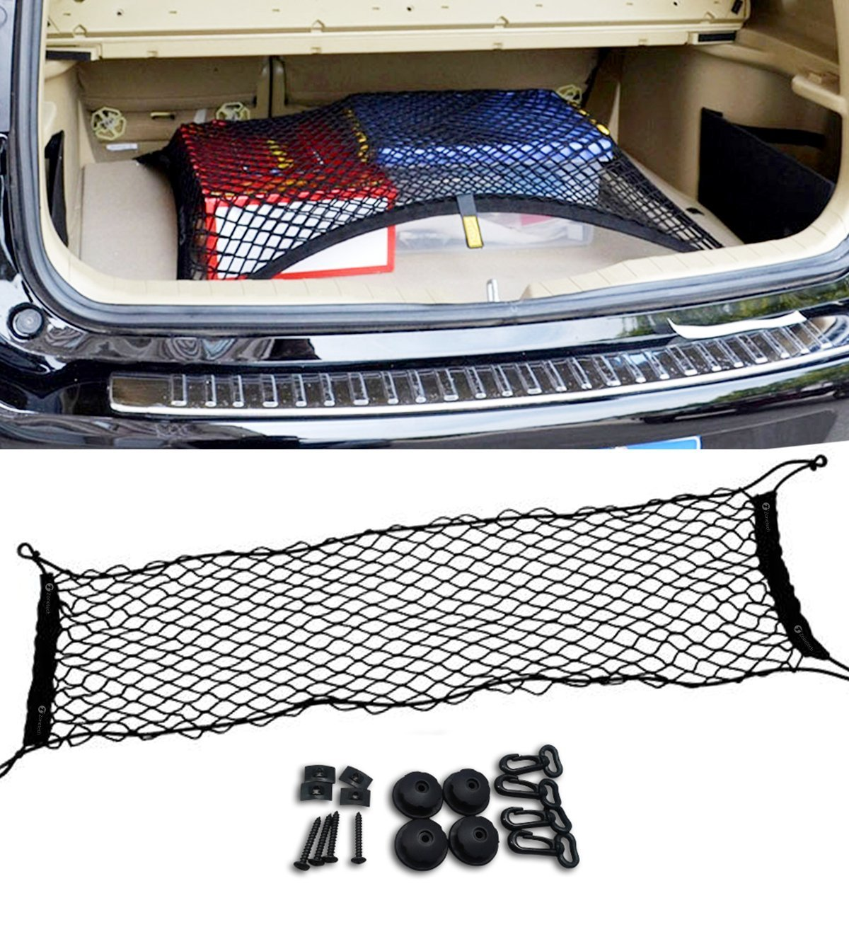 Zone Tech Vehicle Trunk Mesh Cargo Net - Black Premium Quality Universal Fit Cargo Storage Organizer with 3 Mounting Options