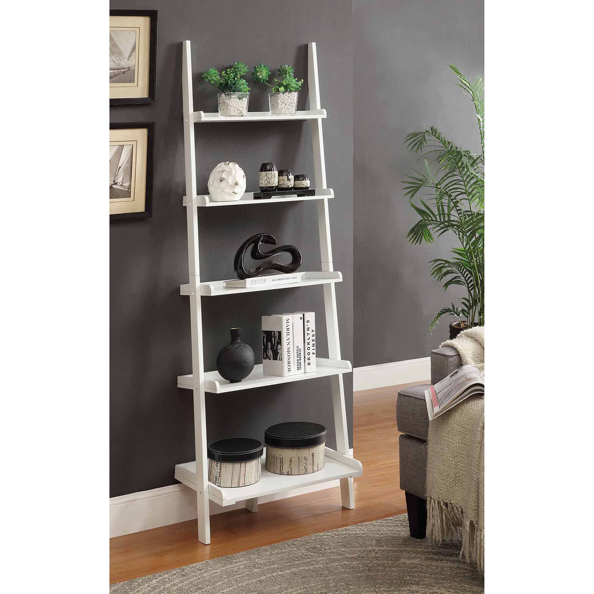 Convenience Concepts French Country Bookshelf Ladder, White  Walmart