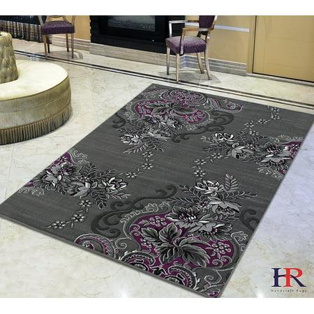 Purple/Grey/Silver/Black/Abstract Area Rug Modern ...